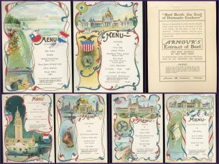 Vibrant & Graphic  - Set of 6 Menu Cards, Pan-American Exposition Promote Armour's Extract of Beef