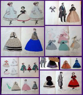 A booklet collection of 25 Cut Paper Characters with Numerous hand made costumes. .France.c1860
