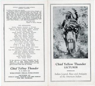 Chief Yellow Thunder Lecturer, Indian Legend, Race and Antiquity of the American Indian. .Wisconsin Dells, Wis..1930