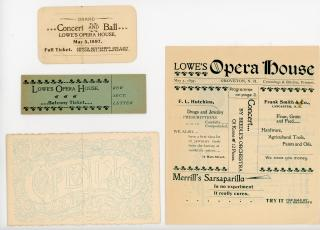 Memorabilia from the Lowe's Opera House. .Groveton, NH.May 5, 1897