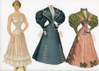 Demorest's Family Magazine -  Advertising Paper Doll with 2 Costumes. ..1895