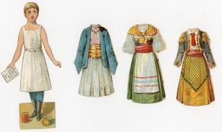 Front and Back McLoughlin style paper doll promotes Brook's Spool Cotton - 3 Costumes. ..1890s