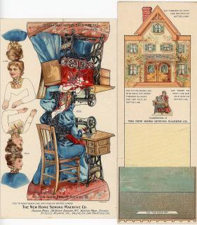 Advertising Paper Doll for The New Home Sewing Machine Co.. Forbes Co. .Orange MA.c1895