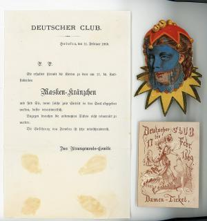 Invitation and Ticket and die-cut for a German Club Masked Ball. .Hoboken, NJ.1869
