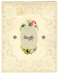 Lace Paper w Silk at Center, Silver Love Birds and Bows - Watercolor Applied Flowers; Stampless Cover