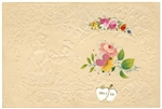 Fine Embossed Paper Garden Scene with Gentleman Proposing plus Watercolor Flower Vignette