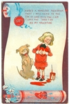 Outcault Illustration -  A Wireless Telegram with Winking Dog and Boy in the style of Buster Brown