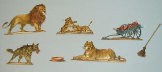 Embossed Die-cut Paper Toys - Wild Animals -  Lion Family & Hyaena