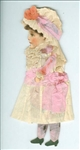 Handmade - Cut Out Paper Doll Dressed in Crepe Paper - Fanciful in Pink No. 1