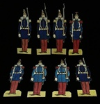 Group of 9 Gouache Wentzel (?) Paper French Infantry Soldiers 1870s