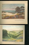 2 Early 20th Century California Greeting Cards, Tipped-in Illustrations.