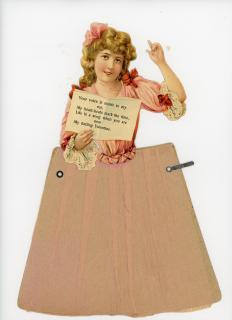 Victorian Die-cut Paper Doll Valentine c1890s—Your Voice is Music…