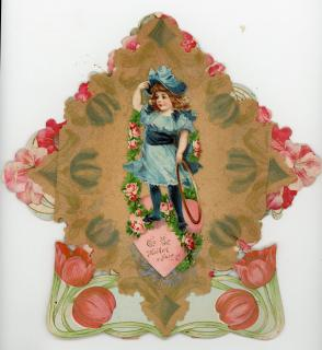 Tulip and Rose Art Nouveau Rivet and Parchment Valentine with Die-cut of Brundage girl with Hoop