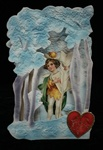 Unusual Purple and Blue Forest Hinged Valentine with Brundage Boy Daisy Flower Child.  Feathered Quill and Valentine Art Nouveau Influence