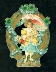 Young Girl w Pink Lacy Parasol Stands Beneath Horse Shoe with 4 Leaf Clovers and Forget Me Not Garlands