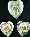 3 Heart Shaped Cards Women w Winter Ware Forget-Me-Note Wreaths