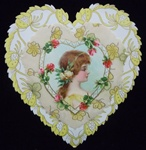 Art Nouveau Three Tiers - Shoulder view of Young Girl Surrounded by Roses