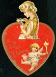 3-D Girl with Loves Me Loves Not Daisy, Winged Cupid, Heart, and Torch - Nister
