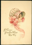 Tuck - Pretty Pink and White Bonnet with Head View of Girl Valentine Card