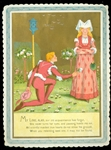 Gentleman Romancer on his Knee Holding a Flower Towards Scornful Maiden