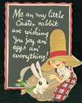 Buzza -Easter Rabbit Wishing Joy - Lady Wearing Big Hat Holding Rabbit in a Basket