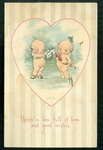 "Rose O'Neill - Kewpies Valentine Post  Card ""Box Full of Love"""