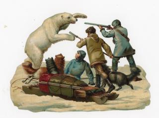 "6 1/4"" Victorian Scrap - Exploration - Polar Bear Attacking Hunters that are Hunting"