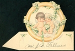 Kewpie Bridge and Groom Snuggle in Ring Place Card