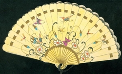 Art Deco Influenced Scene - Butterflies, Dragonflies & Flowers on Hand Fan Bridge Tally