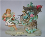 "Elegant 6"" Open-out Valentine  Dresden Chariot Pulled by Love Birds - Cupid Leads the way"