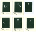 Antonio Ratti Gouache Silk Textile Design No. 2 - Set of 6 Olympian theme