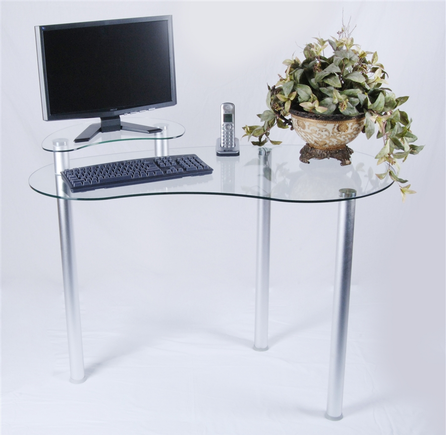 tier one designs clear glass corner computer desk with monitor stand t1d122