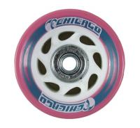 Chicago Pink roller skate wheels w/White 60mm (8 pack)