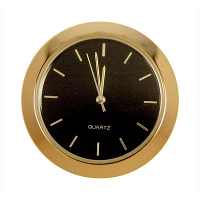 1-7/16 in. Mini Clock - Black Face, Gold Indicators  Item #: K1BLACK