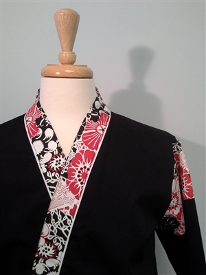 Happi Sushi Chef Coat Serving Short Kimono, Flowers on Black