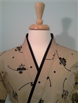 Happi Sushi Chef Coat, Serving Short Kimono, Black Shapes on Brown