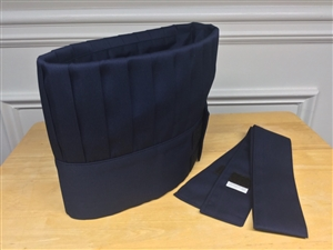 Hibachi Teppan Chef Hat and Tie, Navy