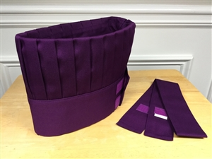Hibachi Teppan Chef Hat and Tie, Purple