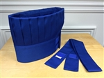 Hibachi Teppan Chef Hat and Tie, Royal Blue