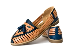 Women's Closed Toe Tassel Huaraches Sandals - Blue/Tan