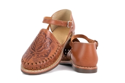 Women's Closed Toe Tooled Huaraches Sandals - Dark Brown