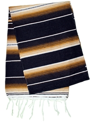 Mexican Classic Serape Table Runner - Black/Tan