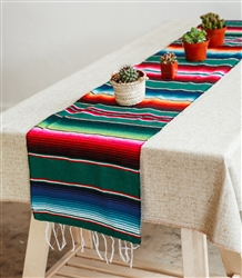 Mexican Classic Serape Table Runner - Multi Green