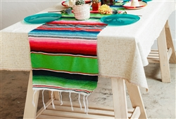 Mexican Classic Serape Table Runner - Multi Lime Green