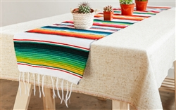 Mexican Classic Serape Table Runner - Multi White