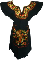 Embroidered Vestido Kimona Dress - Black