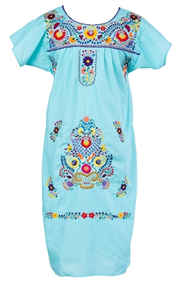 Embroidered Pueblo Dress - Light Blue (Large)