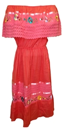 Mexican Pueblo Crochet Dress - Coral