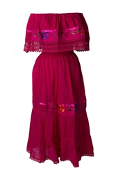 Mexican Pueblo Crochet Dress - Fuchsia
