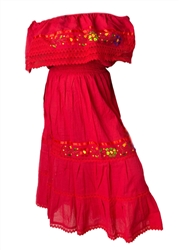 Mexican Pueblo Crochet Dress - Red